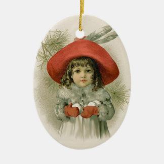 Maud Humphrey Girl and Snowballs Ceramic Ornament