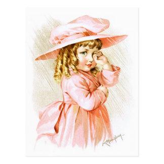Maud Humphrey: Spring Girl in the Rain Postcard
