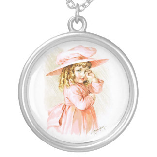 Maud Humphrey: Spring Girl in the Rain Round Pendant Necklace
