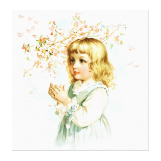 Maud Humphrey: Spring Girl under the Orchard Tree Canvas Print