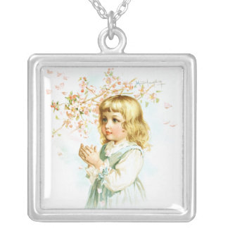 Maud Humphrey: Spring Girl under the Orchard Tree Square Pendant Necklace