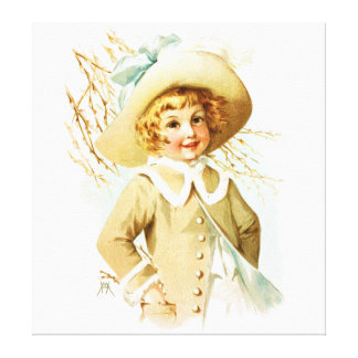 Maud Humphrey: Spring Girl under Willow Catkin Stretched Canvas Prints