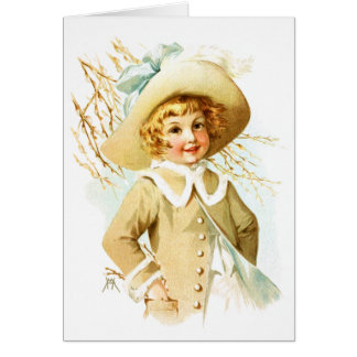 Maud Humphrey: Spring Girl under Willow Catkin Card