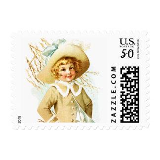 Maud Humphrey: Spring Girl under Willow Catkin Postage
