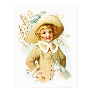 Maud Humphrey: Spring Girl under Willow Catkin Postcard
