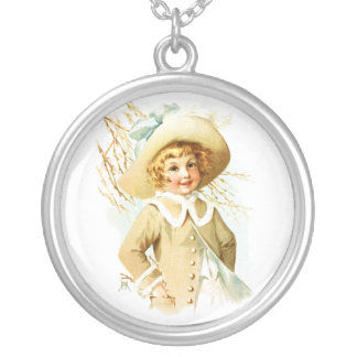 Maud Humphrey: Spring Girl under Willow Catkin Round Pendant Necklace