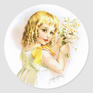 Maud Humphrey: Summer Girl with Daisies Classic Round Sticker