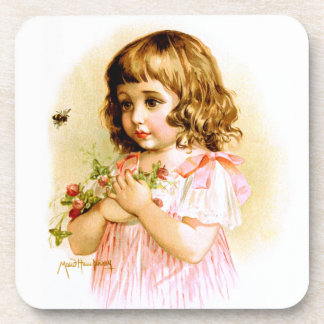 Maud Humphrey: Summer Girl with Flowers and Bee Drink Coaster