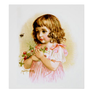 Maud Humphrey: Summer Girl with Flowers and Bee Poster