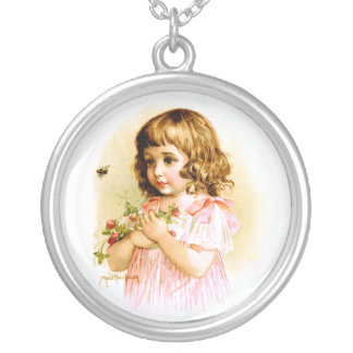 Maud Humphrey: Summer Girl with Flowers and Bee Round Pendant Necklace