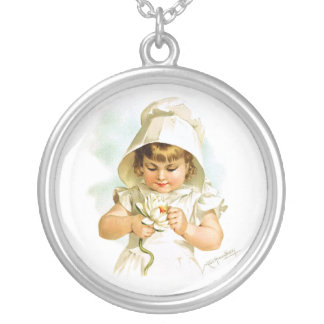 Maud Humphrey: Summer Girl with Water Lily Round Pendant Necklace