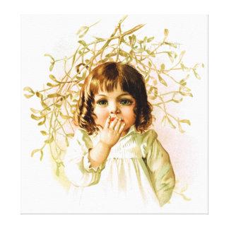 Maud Humphrey: Winter Girl under Mistletoe Canvas Prints