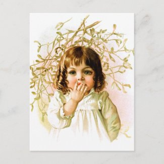 Maud Humphrey: Winter Girl under Mistletoe