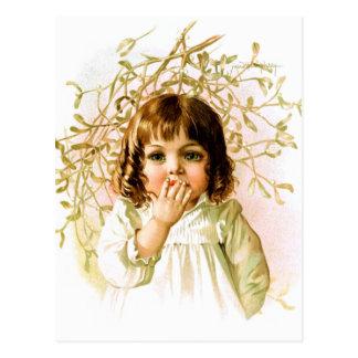 Maud Humphrey: Winter Girl under Mistletoe Postcard
