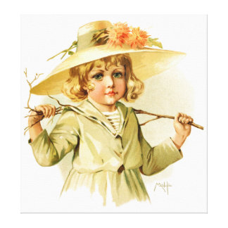 Maud Humphrey: Winter Girl with Branch Gallery Wrap Canvas