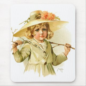 Maud Humphrey: Winter Girl with Branch