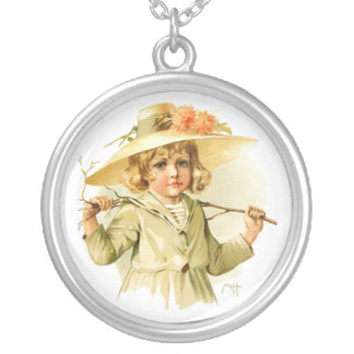 Maud Humphrey: Winter Girl with Branch Round Pendant Necklace