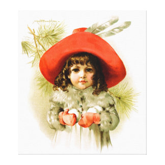 Maud Humphrey: Winter Girl with Snowballs Stretched Canvas Print