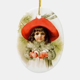 Maud Humphrey: Winter Girl with Snowballs Ceramic Ornament