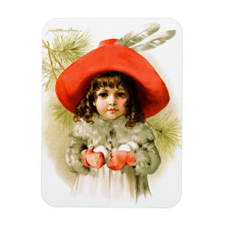 Maud Humphrey: Winter Girl with Snowballs Magnets