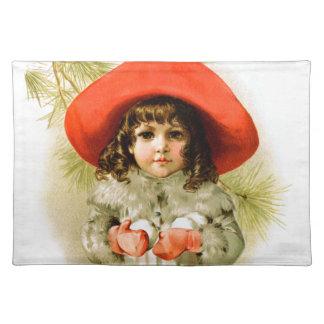 Maud Humphrey: Winter Girl with Snowballs Placemat