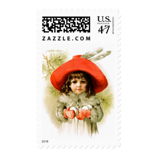 Maud Humphrey: Winter Girl with Snowballs Postage