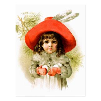 Maud Humphrey: Winter Girl with Snowballs Post Card