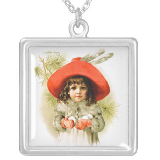 Maud Humphrey: Winter Girl with Snowballs Square Pendant Necklace