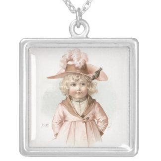 Maud Humphrey's Autumn Girl Square Pendant Necklace
