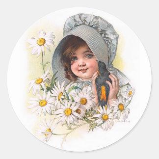 Maud Humphrey's Daisy Girl Classic Round Sticker