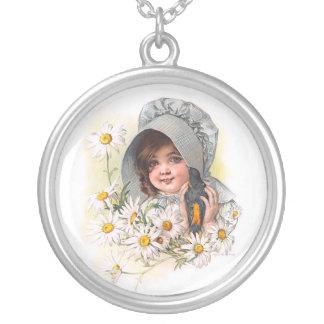 Maud Humphrey's Daisy Girl Round Pendant Necklace