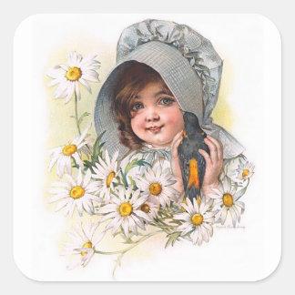 Maud Humphrey's Daisy Girl Square Sticker