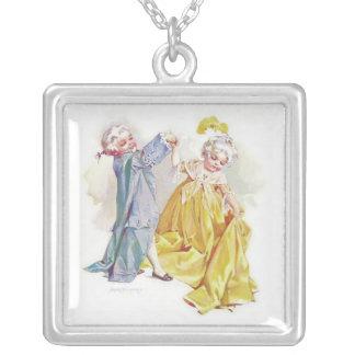 Maud Humphrey's Dancing Children Square Pendant Necklace