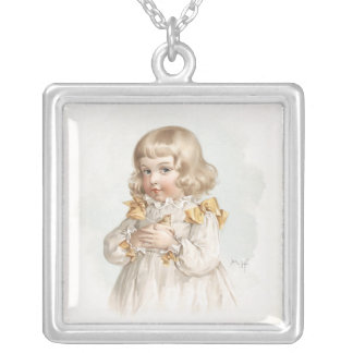 Maud Humphrey's Spring Girl Square Pendant Necklace