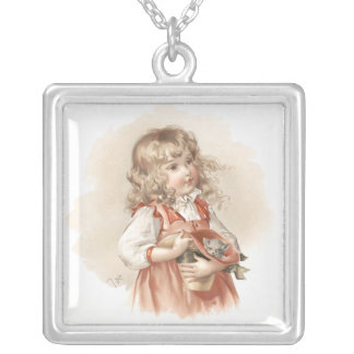 Maud Humphrey's Summer Girl Square Pendant Necklace