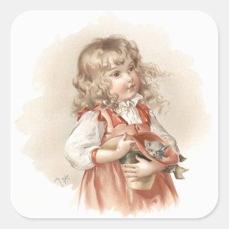 Maud Humphrey's Summer Girl Square Sticker