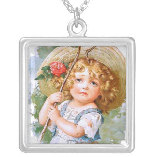 Maud Humphrey's Sweet Little Summer Girl Square Pendant Necklace