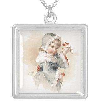 Maud Humphrey's Winter Girl Square Pendant Necklace