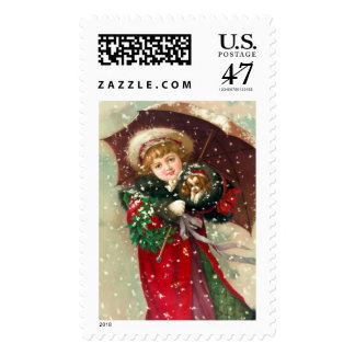 Maud Humphrey's Winter Girl with dog Postage