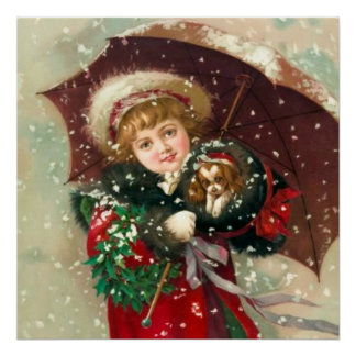 Maud Humphrey's Winter Girl with dog Poster