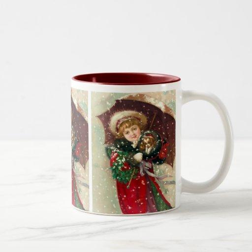 Maud Humphrey's Winter Girl with dog Two-Tone Coffee Mug