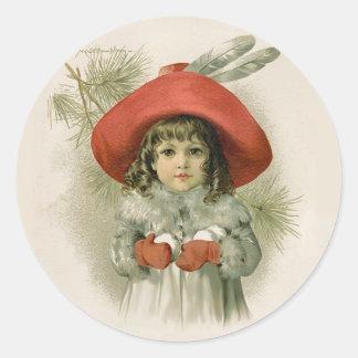 Maude Humphrey Girl and Snowballs Round Sticker