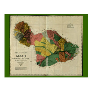 Maui, 1885, mapa de Hawaii del vintage Tarjetas Postales