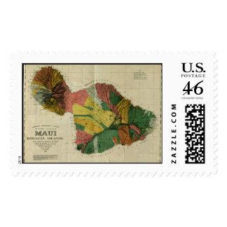 Maui 1885 Vintage Hawaii Map Stamp