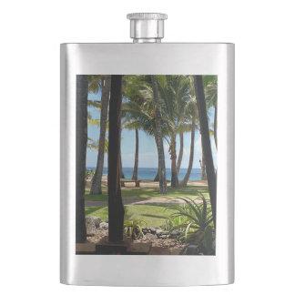 Maui Beach Hawaii Palm Trees Flask