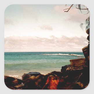 """Maui black rock beach"" collection Square Sticker"