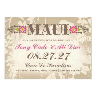 MAUI Destination Tropical Floral Linen 5x7 Paper Invitation Card