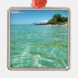 Maui Hawaii Beach Square Metal Christmas Ornament
