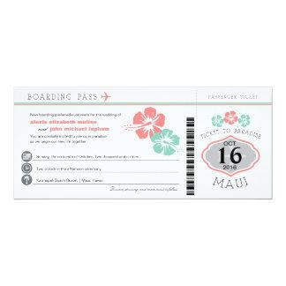Maui Hawaii Hibiscus Boarding Pass Wedding Card
