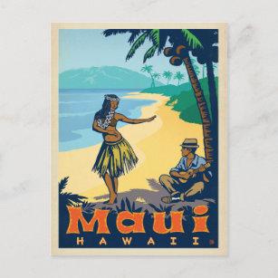 Maui, Hawaii   Hula Girl & Ukele Postcard